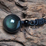 Natural Obsidian Rainbow Eye Necklace