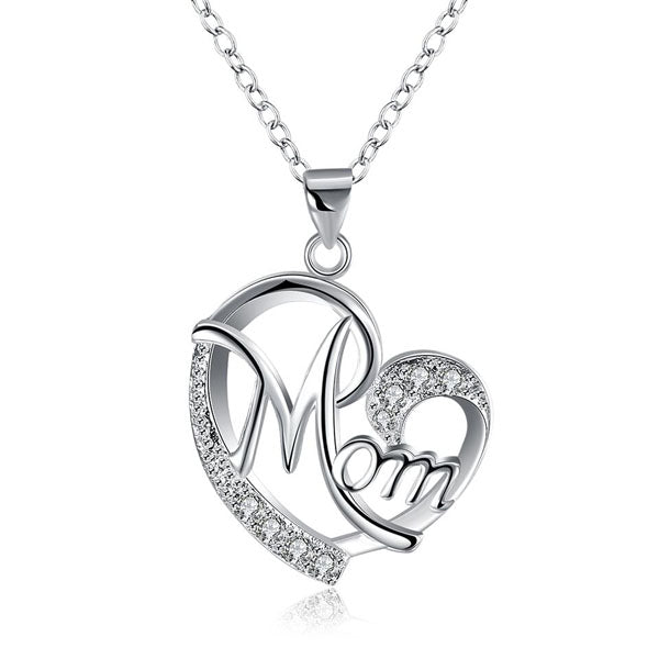 Sterling Silver Crystal Mom Heart Necklace