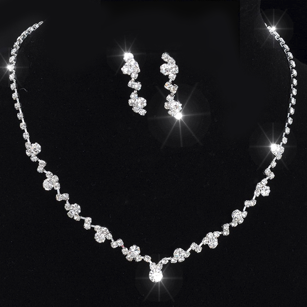 Crystal Tennis Choker Necklace Set