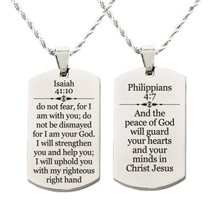 Holy Scripture Tag Necklace in Solid Stainless Steel