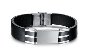 Genuine Leather Bold Men's Stainless Steel Bracelet - Florence Scovel - 5