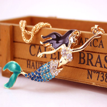 Mermaid Blue Rhinestone Pendant