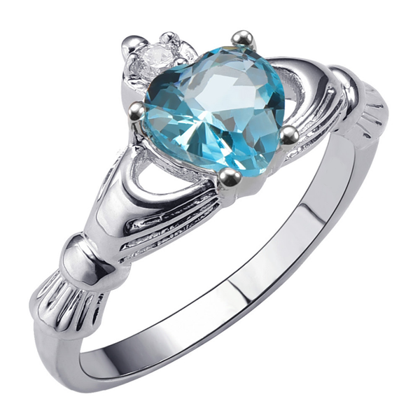 Aquamarine Heart Ring