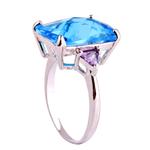 Rectangle Cut Sapphire Aquamarine Ring