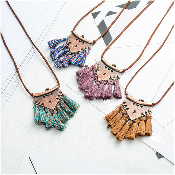 Leather Chain Tassel Necklace