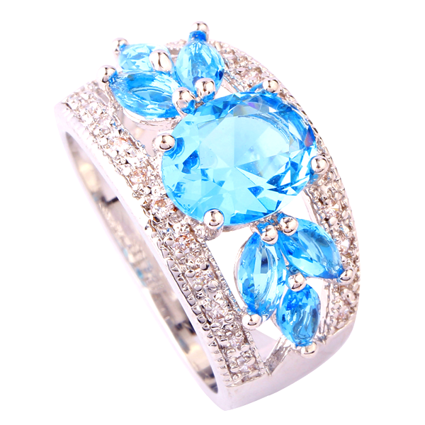 Fancy Oval Cut Aquamarine Ring