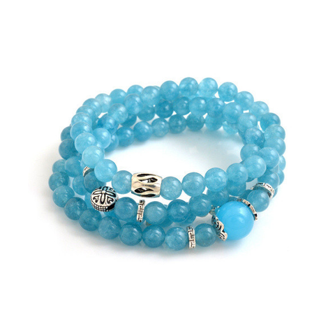 Blue Agate Beaded Aquamarine Bracelet
