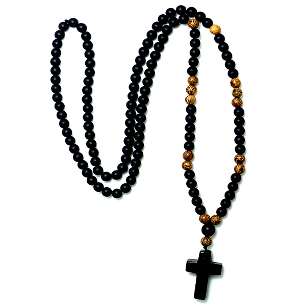 Black Cross Stone Wood Bead Necklace