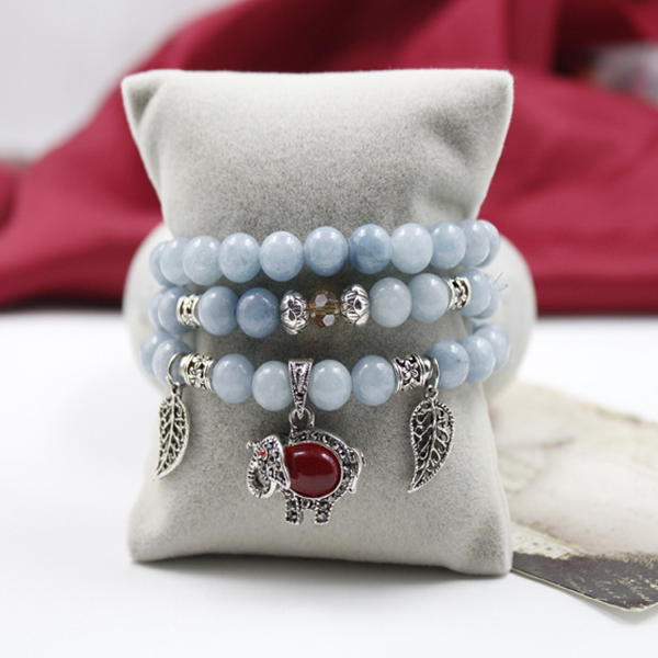 Aquamarine Multi-layer Ruby Stone Elephant Bracelet