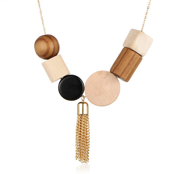 Geometric Block Tassel Necklace