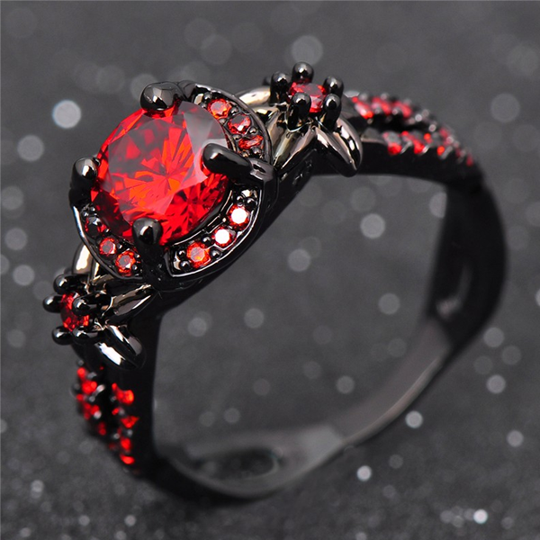 Shiny Red Garnet Flower Ring