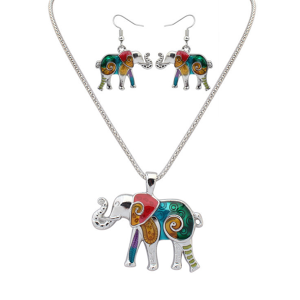 Elephant Hippie Pendant Set