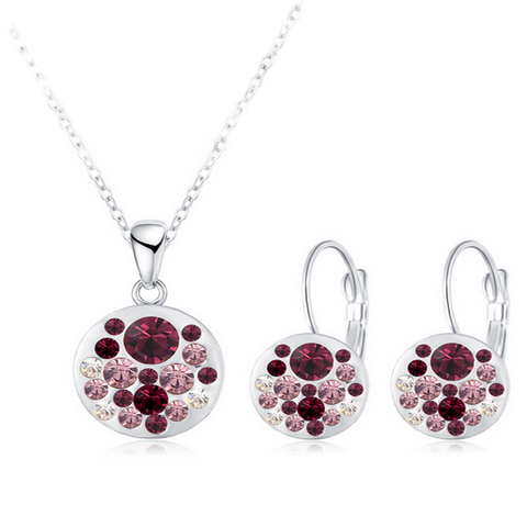 Round Purple Crystal Pendant Set