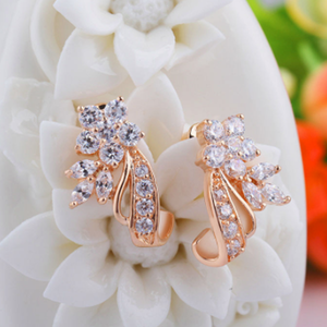 Zirconia Flower Stud Earrings