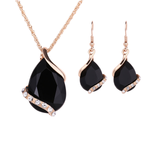 Black Opaque Dangle Necklace Set
