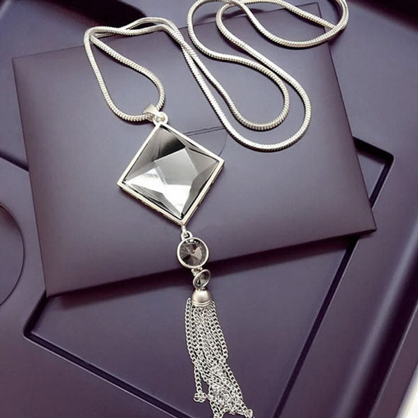 Crystal Long Drop Tassel Necklace
