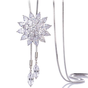 White Crystal Sunflower Tassel Long Necklace