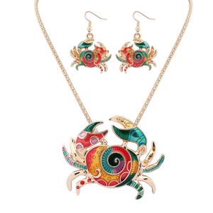 Cute Crab Hippie Pendant Set