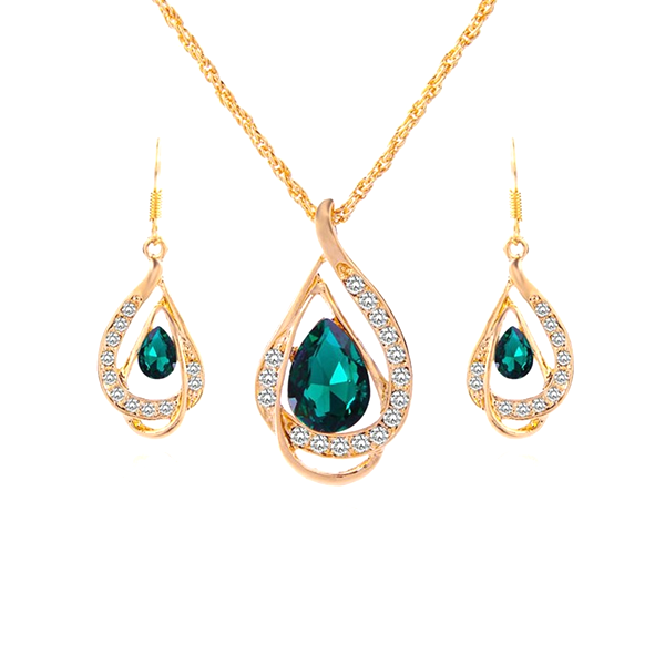 Green Emerald Pendant Set