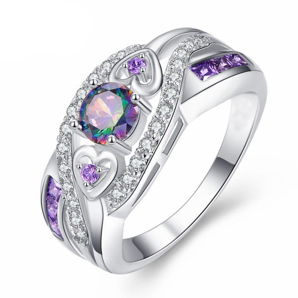 Oval Heart Design Purple Crystal Ring