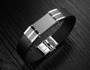 Genuine Leather Bold Men's Stainless Steel Bracelet - Florence Scovel - 6