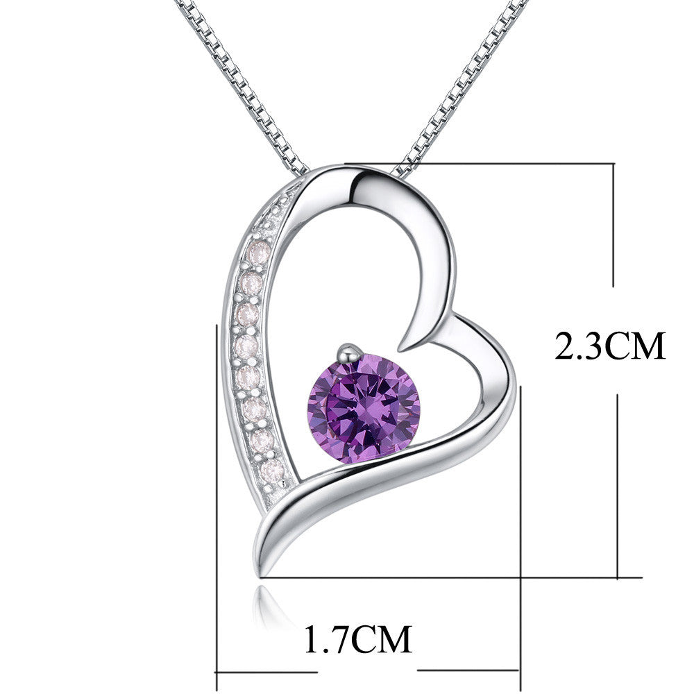 Crystal Heart Silver Pendant(Purple) - Florence Scovel - 2