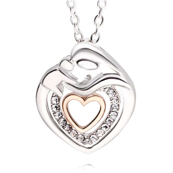Cute Mommy And Baby Heart Pendant Necklace