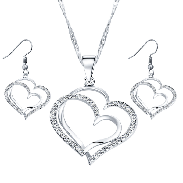Double Heart Bridesmaid Pendant Set