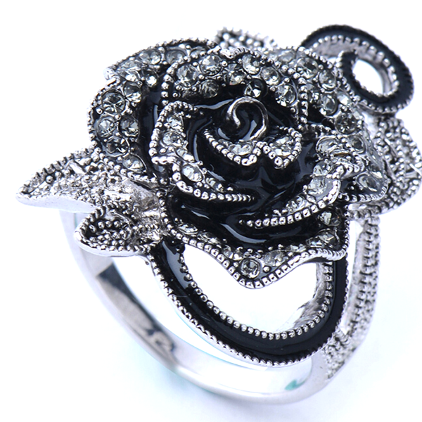 Black Rose Silver Plated Crystal Ring