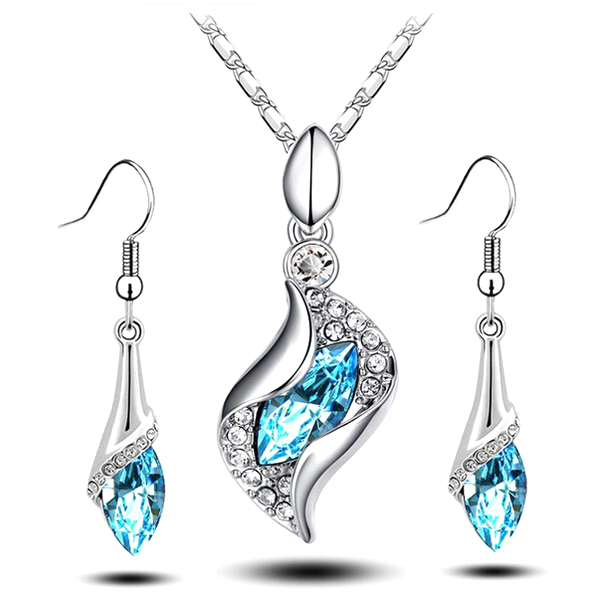 Hanging Crystal Drop Pendant Set