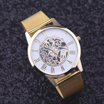 Simple Golden Stainless Steel Thin Strap Watch