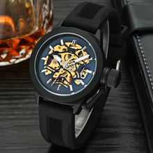Black Silicone Strap Mechanical Watch
