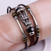 Tibetan Dragon Silver Unisex Leather Bracelet