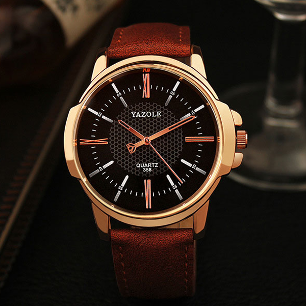 Rose Gold Quartz Men's Wrist Watch