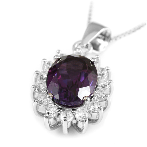 3 Carat Handcrafted Alexandrite Pendant with Silver Plated Chain - Florence Scovel - 9