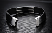 Genuine Leather Bold Men's Stainless Steel Bracelet - Florence Scovel - 2