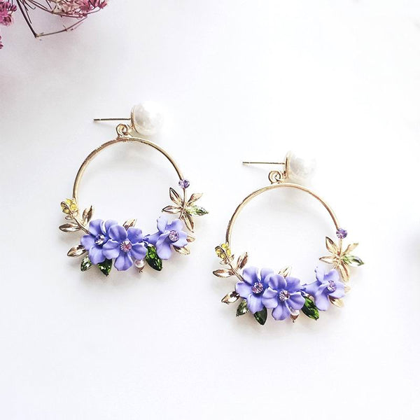 Pearl Circle Flower Drop Earrings