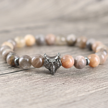Black Sun Natural Stones Bracelet With Wolf Head