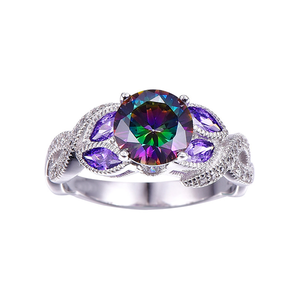 Rainbow Topaz Crystal Ring