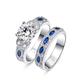 Solid Sapphire Crystal Ring Set