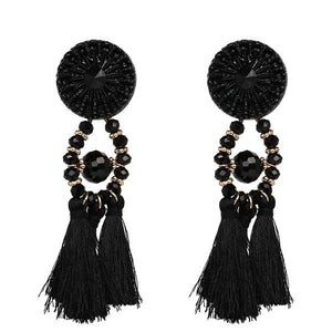 Round Beaded Tassel Long Earrings