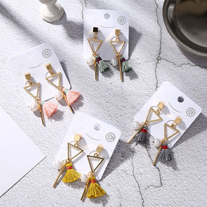 Geometric Triangle Tassel Earring