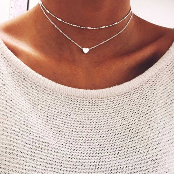 Double Layers Chain Heart Necklace