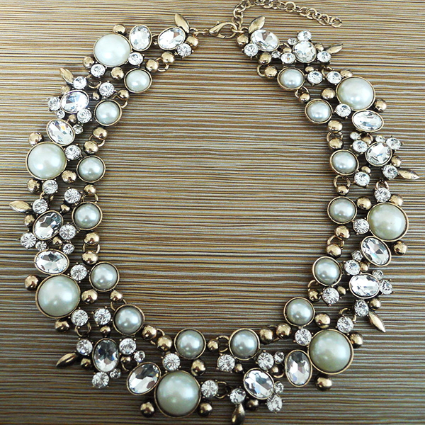 Imitation Pearl Crystal Choker Necklace