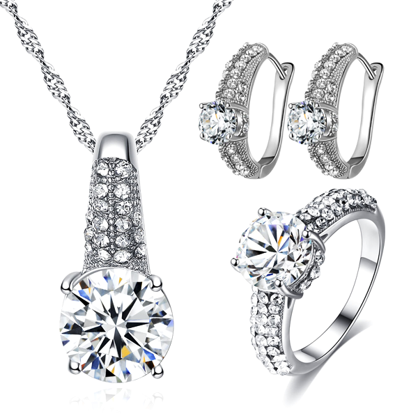 Cubic Zirconia Necklace Set With Earrings And Ring