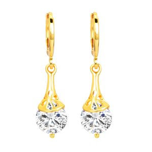 Shinning Stones Dangle Drop Gold Earrings