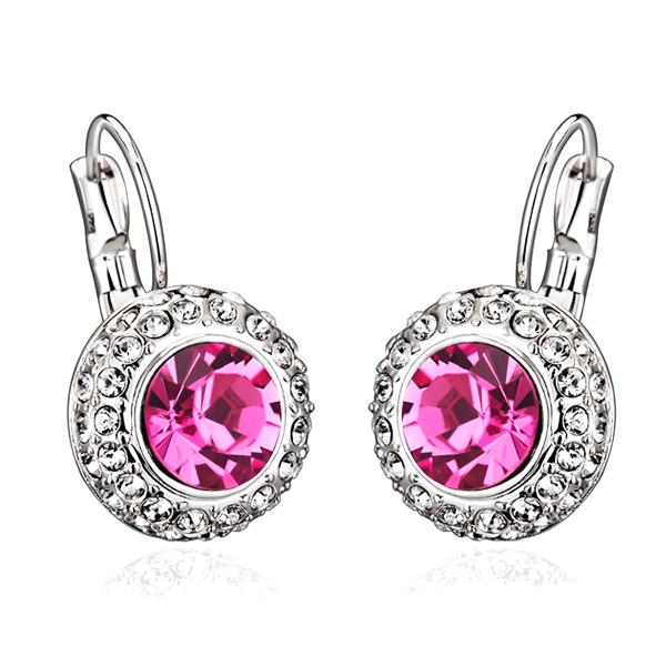 Austrian Crystal Round Dangle Drop Earrings