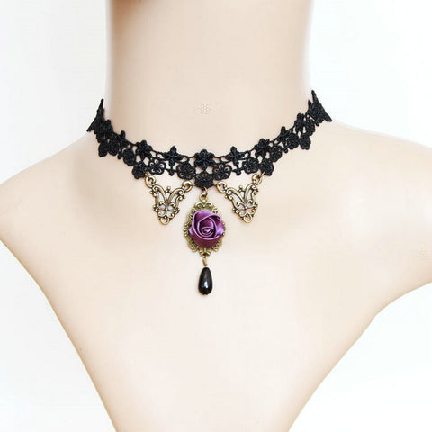 Violet Rose Black Lace Choker - Florence Scovel - 1
