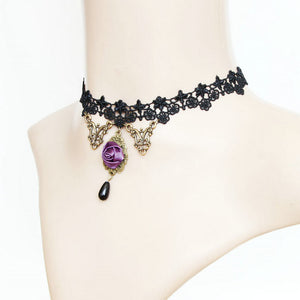 Violet Rose Black Lace Choker - Florence Scovel - 2
