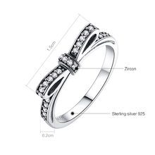Silver Sparkling Bow Knot Stackable Ring